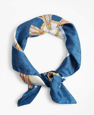 Brooks Brothers Tassel-Print Silk Square Scarf