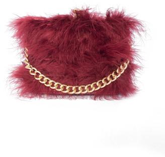 de5968135d09 Missy Empire Missyempire Esra Wine Faux Fur Chain Hand Bag