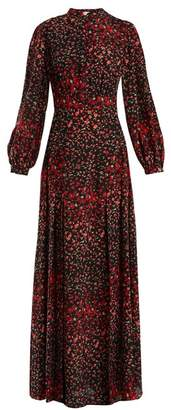 Raquel Diniz - Lila Floral Print Silk Crepe Dress - Womens - Black Print