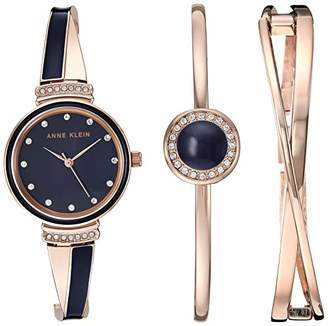 Anne Klein Women's AK/3292NVST Swarovski Crystal Accented Rose Gold-Tone and Navy Blue Watch and Bangle Set