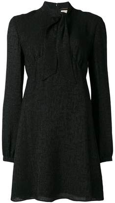 Saint Laurent tie neck mini dress