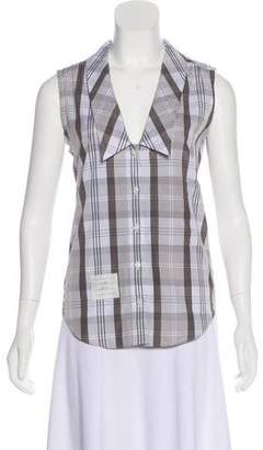 Thom Browne Sleeveless Button-Up Top