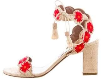 Tabitha Simmons Raffia Embroidered Sandals