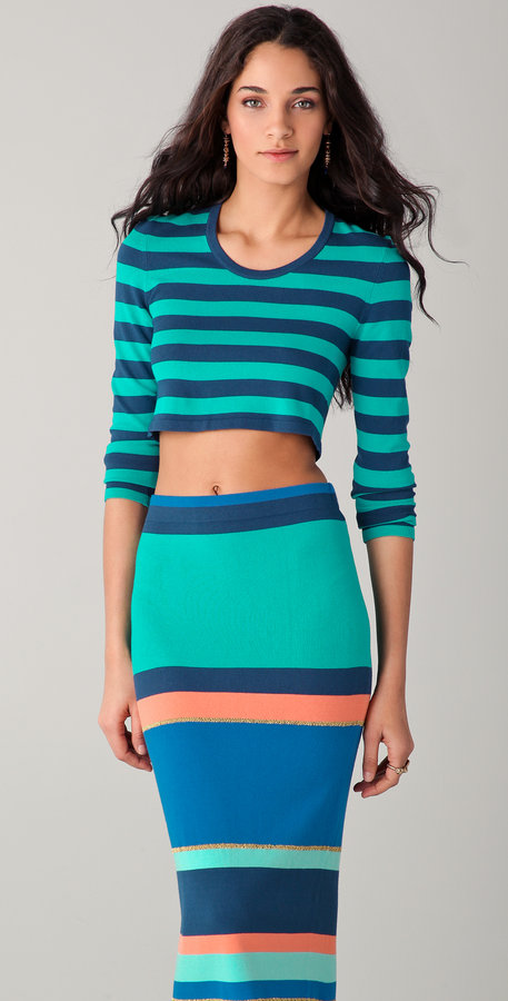 Torn by ronny kobo Emma Striped Long Sleeve Crop Sweater