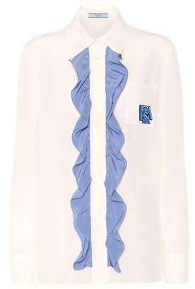 Prada Ruffle-trimmed silk shirt