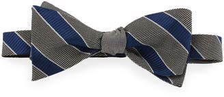 Neiman Marcus Formal Reversible Bow Tie, Black/Silver