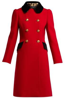 Dolce & Gabbana Contrast Collar Double Breasted Wool Blend Coat - Womens - Red