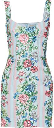 Emilia Wickstead Judita Floral-print Cloqué Mini Dress - Blue