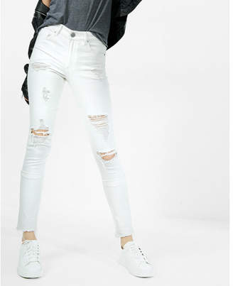 Express white high waisted distressed stretch ankle jean leggings