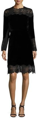 Elie Tahari Anderson Long-Sleeve Velvet & Lace A-Line Dress, Black $548 thestylecure.com