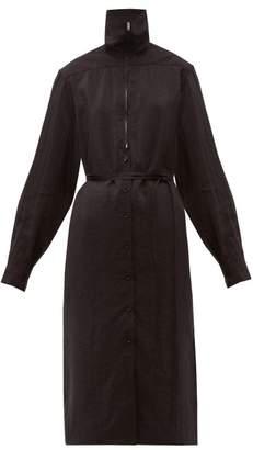 Lemaire Zipped Silk Blend Dress - Womens - Black