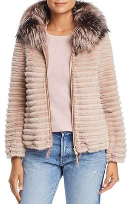Maximilian Furs Hooded Beaver Fur Jacket with Fox & Mink Fur Trim - 100% Exclusive
