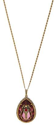 Alexander McQueen Scarab Crystal And Faux Pearl Necklace - Womens - Pink