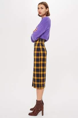 Topshop Check Pencil Midi Skirt