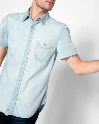 7 For All Mankind Short Sleeve Released Hem Denim Shirt in Stone Wash