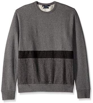French Connection Men's Tweed Applique Striped Sweatshirt
