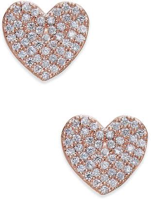 Kate Spade Rose Gold-Tone Pave Heart Stud Earrings