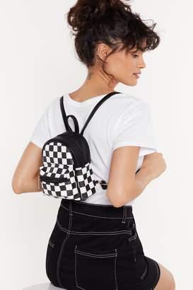 Nasty Gal Mini Chessboard Print PU Backpack
