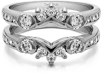 TwoBirch Brilliant Moissanite Mounted in Sterling Silver Half Halo Classic Style Ring Guard (0.93ctw)
