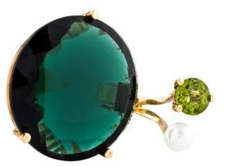 Delfina Delettrez 9K Peridot, Pearl & Synthetic Quartz Cocktail Ring