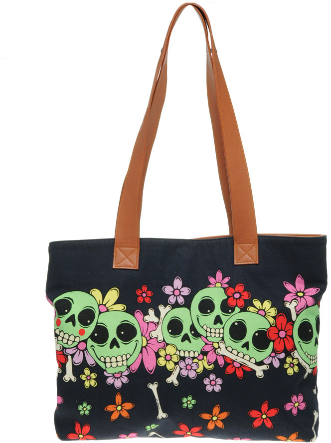 House Of Holland Skull Flower Printed Canvas Shopper Bag