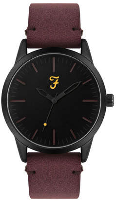 Farah Men the Classic Collection Burgundy Leather Strap Watch 42mm