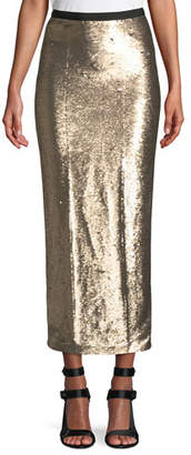 Cinq à Sept Paula Straight Sequin Long Skirt