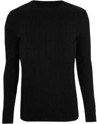 River Island Black ribbed long sleeve knit T-shirt