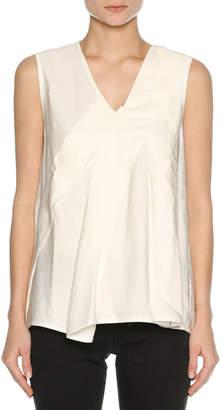 Marni V-Neck Sleeveless Poplin Top, White