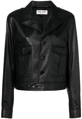 Saint Laurent button front leather jacket