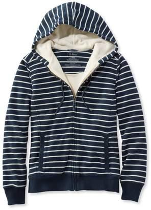L.L. Bean L.L.Bean Sweater-Trimmed Sherpa-Lined Hoodie, Stripe