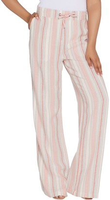 Denim & Co. Linen Blend Pull-on Full Length Striped Pants