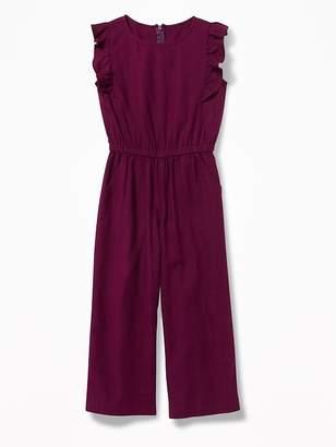 Old Navy Linen-Blend Flutter-Sleeve Jumpsuit for Girls