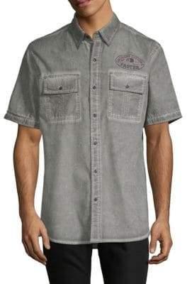 Affliction Flatliner Woven Cotton Button-Down Shirt
