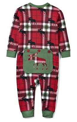 Hatley ハットレイ パジャマ、赤いチェックとムースシルエットでおしゃれ 60~70cm、3M-6M(58-69cm) US0WIMO209