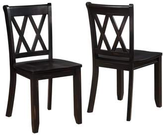 Roundhill Furniture Roundhill Vilnius Contemporary Wood Cross Back Black Dining Chair, Set of 2