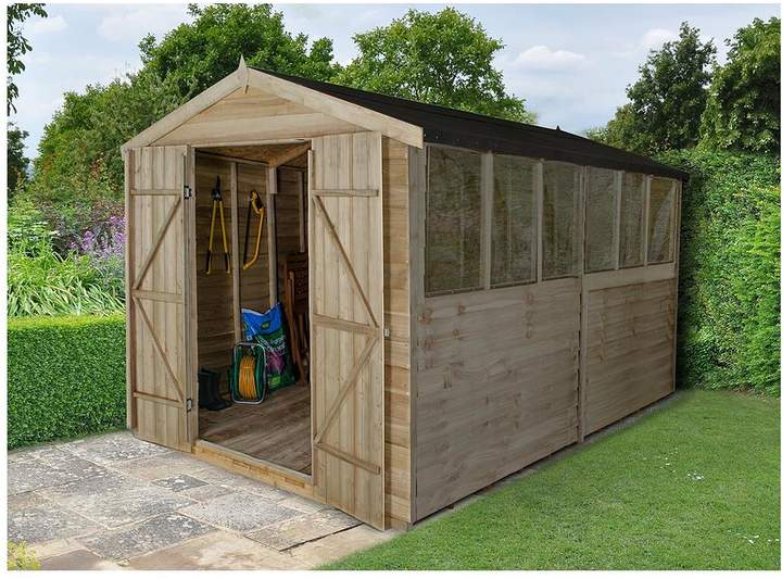 FOREST 12 X 8ft Pressure Treated Apex Workshop With 6 Windows And Double Doors Plus Assembly