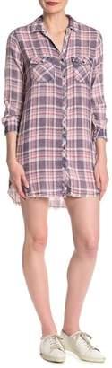 Sneak Peek Denim Plaid Button Down Shirt Dress