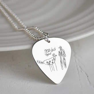 f138674e4 Your Own Hold upon Heart Drawing Personalised Silver Plectrum Necklace