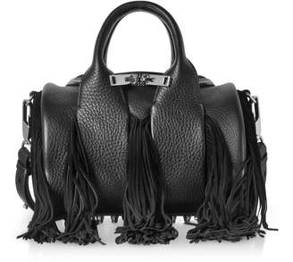 Alexander Wang Rockie Black Pebbled Leather Mini Satchel Bag W/suede Fringes
