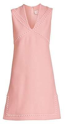 Giambattista Valli Women's Studded Wool V-Neck Shift Dress