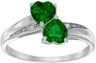 JCPenney FINE JEWELRY Lab-Created Emeralds and Diamond-Accent Sterling Silver Double-Heart Ring