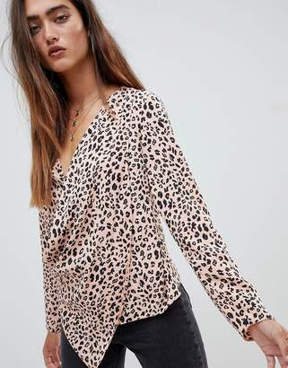 Asos Design DESIGN long sleeve top with wrap plunge neck in leopard animal print