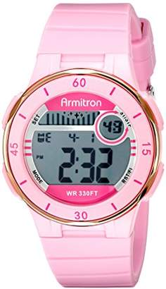 Armitron Sport Women's 45/7049PNK Rose Gold-Tone Accented Digital Chronograph Watch