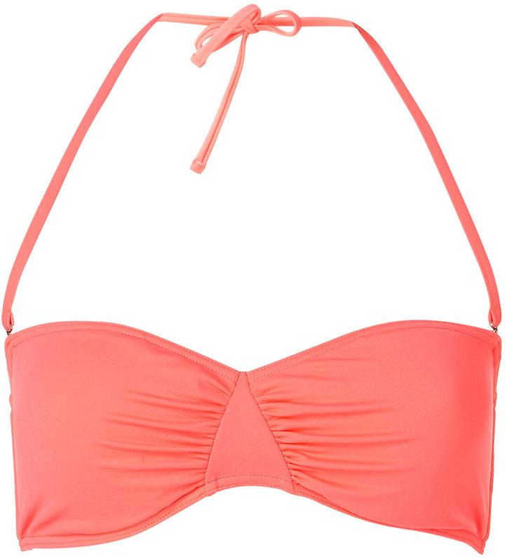 Topshop Coral Bandeau Bikini Top