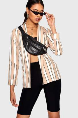 boohoo Stripe Shawl Collar Blazer