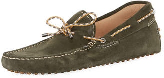 Tod's Gommini Suede Driver with Braided Tie, Green