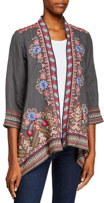 Johnny Was Frederique Draped Linen Cardigan