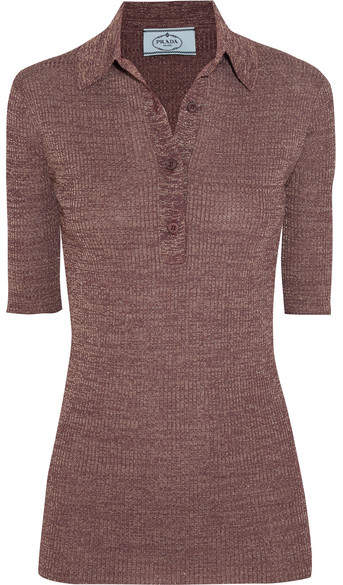 Prada - Metallic Ribbed-knit Top - Lavender