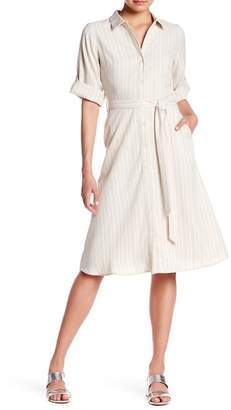 Everly Tie Waist Button Stripe Dress